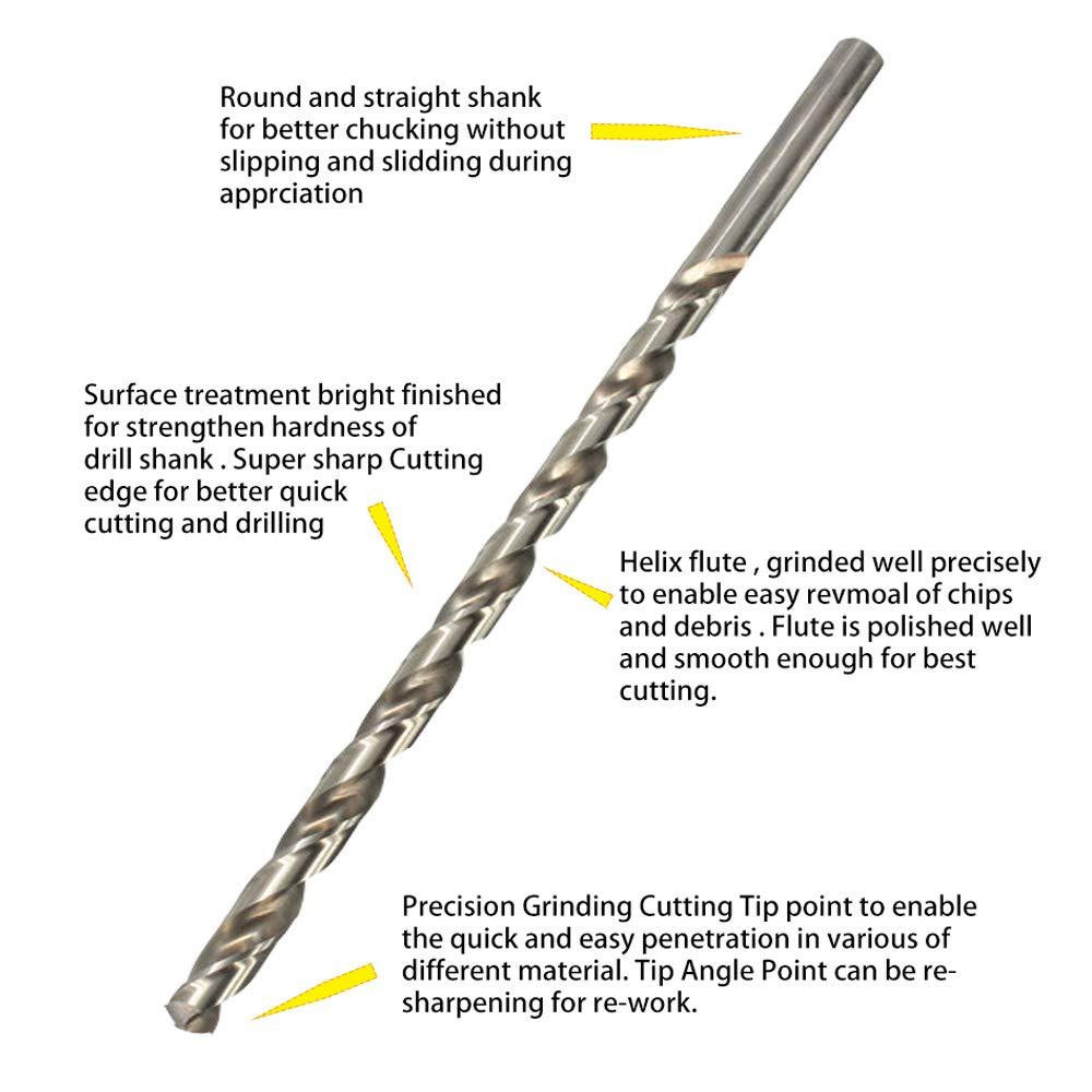 Aircraft Extension 5//16 x 12 High Speed Steel Split Pot Drill Bit Straight Shank