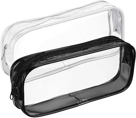 BHAHAI Estuche Transparente para lápices, 2 Unidades, Gran Capacidad, Transparente, para bolígrafos, lápices, bolígrafos, bolígrafos, Estuches Transparentes con Cierre de PVC: Amazon.es: Hogar