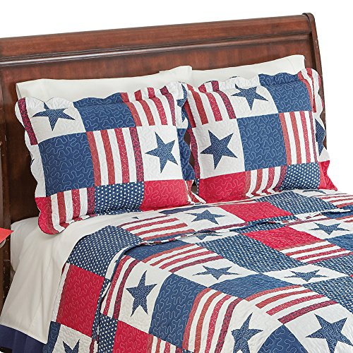 Collections Etc Patriotic Americana Stars and Stripes Red White Blue Pillow Sham
