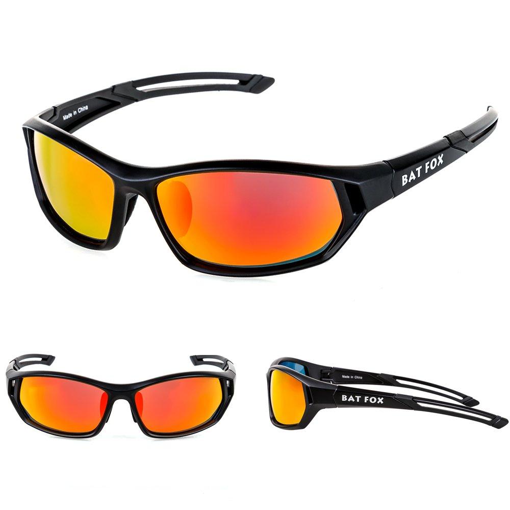 Batfox偏光スポーツサングラス、HDレンズ、組み込み快適シリコン脚forメンズレディース野球ソフトボールRunningサイクリング釣り運転ゴルフハイキング B073HZ355W ブラック2 ブラック2