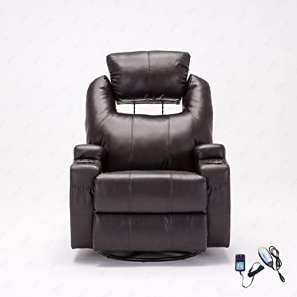 RECLINER GENIUS Mecor Leather Massage Recliner Chair 360 Degree Swivel  Recliner Sofa Living Room Furniture,