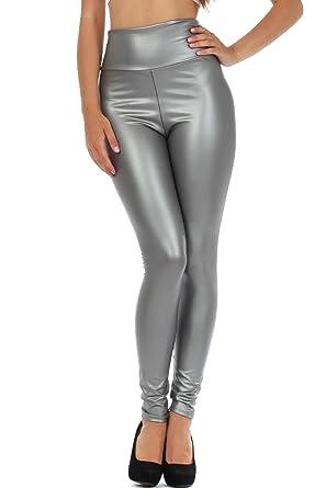 0e813d18ad1eac Sakkas 1436 Matte Liquid High Waist Stretch Leggings - Made in USA - Silver  - S