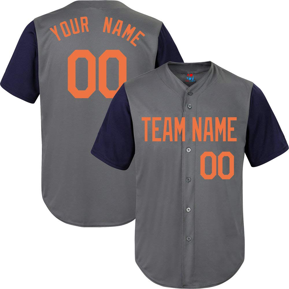 Pullonsy Gray/Navy League Custom Baseball Jersey for Youth Personalized Letters,Orange Size S by Pullonsy