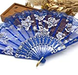 Deep Blue Lace Rose Flower Embroidered Flower Floral Fabric Lace Trim Hand Fan Portable Dance Fan Party Favors
