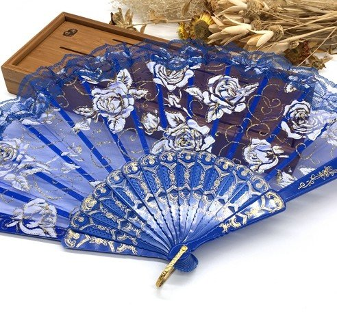 Deep Blue Lace Rose Flower Embroidered Flower Floral Fabric Lace Trim Hand Fan Portable Dance Fan Party Favors by Hand Fan