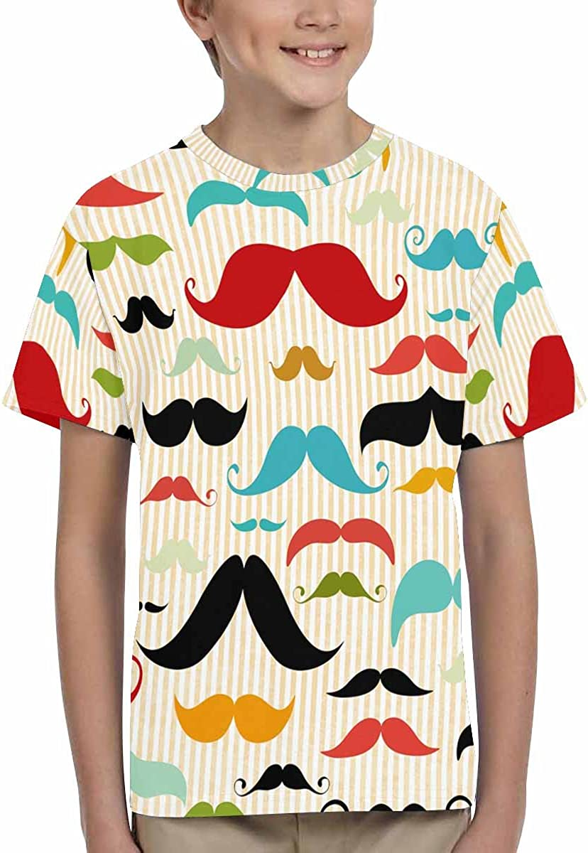 XS-XL INTERESTPRINT Kids T-Shirts Mustache Pattern