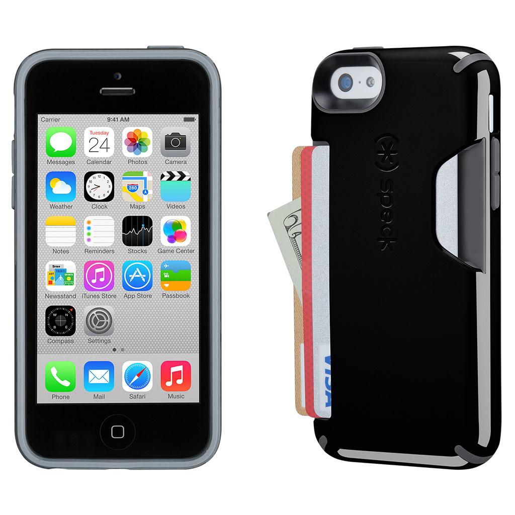 timeless design cdad8 4a9ac Speck Products iPhone 5c CandyShell Card Case, Retail Packaging,  Black/Slate Grey