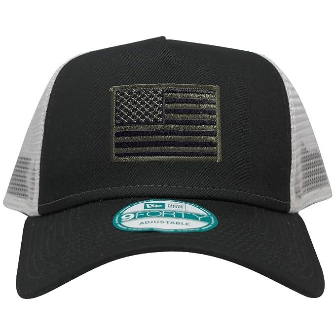 New Era 9FORTY 5 Panel USA Flag Patch Snapback Trucker Cap - BLACK - BLACK  OLIVE 949190737bb