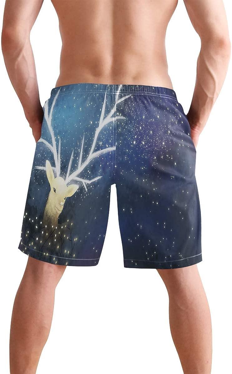 Starry Sky Elk Mens Quick Dry Swim Trunks Beach Shorts