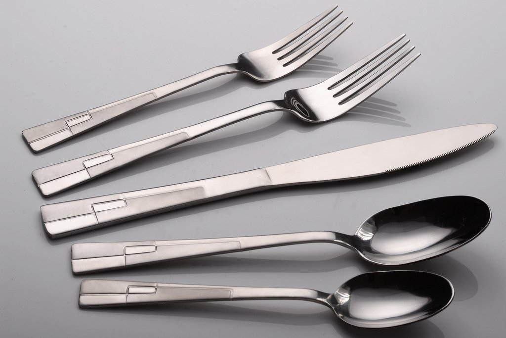 CiCiDi Silverware Set 18/0 Stainless Steel Flatware 5-Piece Set Fork Knife and Spoon
