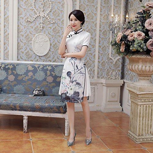 Qipao Cheongsam Couches Manche Lotus Chinoise Robe Avec Deux Acvip Femme Courte x4qXHXR