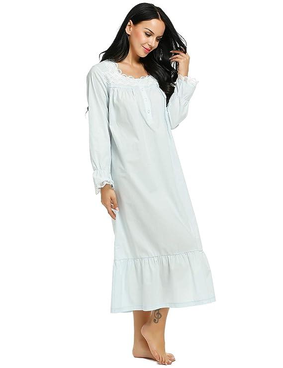 defd72c10b Ekouaer Womens Sleepwear Victorian Sleepshirts Long Sleep Wear Dress Cotton  Nightgown S-XXL at Amazon Women s Clothing store
