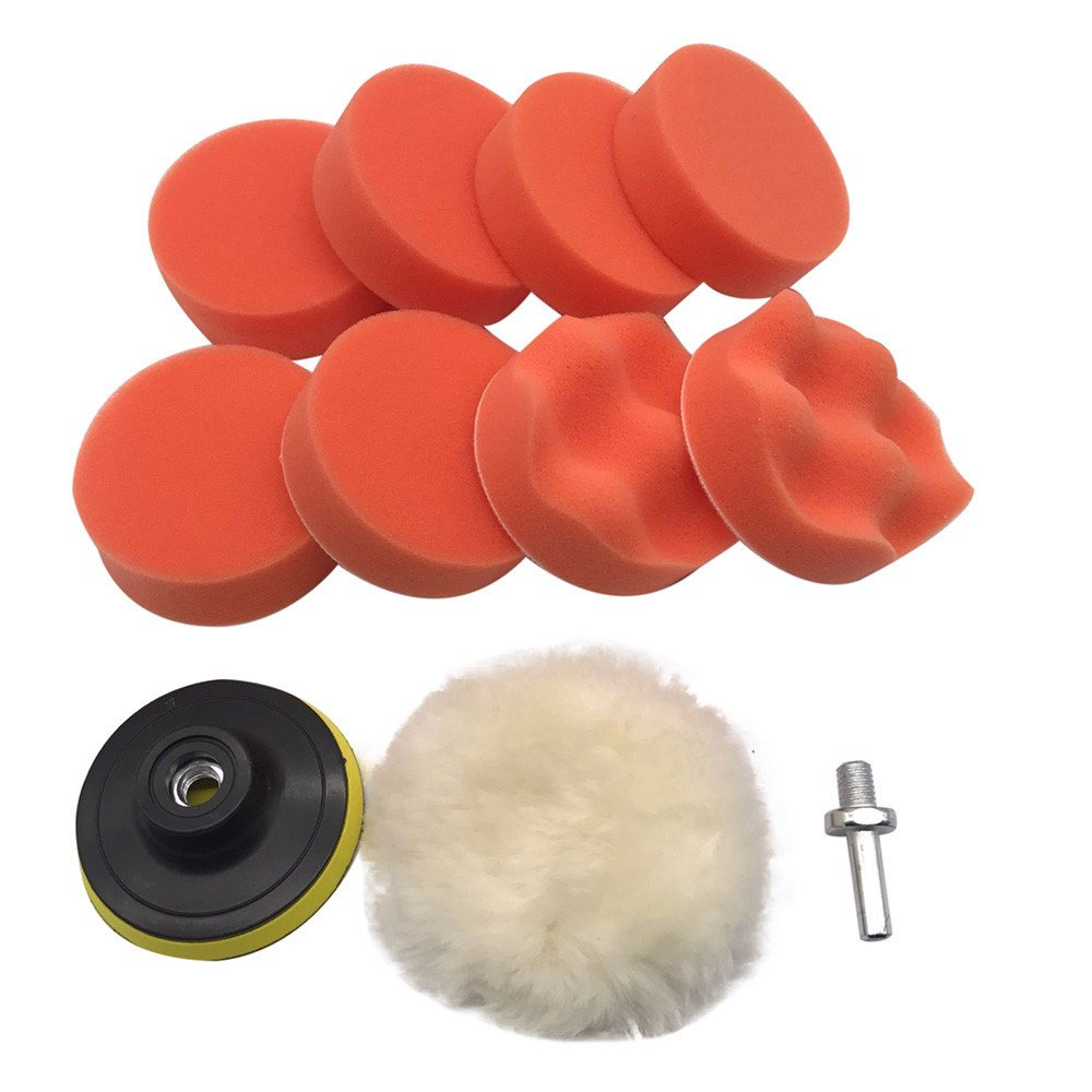 Quaanti Paint Care 10Pcs 3 inch Buffing Pad Kit for Polishing Wheel Auto Car with Drill Adapter Spongecar Accessories 2018 (Multicolor)