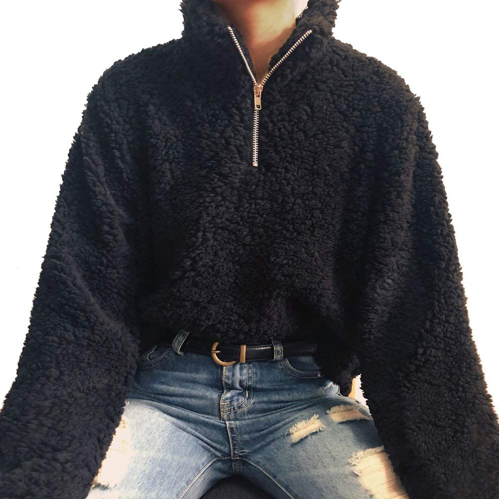 Womens Zippered Collar Solid Color Fleece Pullover Fashion Sweater Top Outwear
