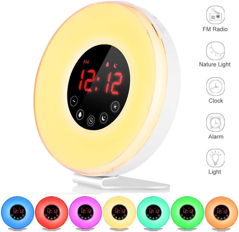 Wake Up Light, FKANT Nature Light Sunrise Simulation Alarm Clock Touch Control Night Light for Bedrooms, Snooze Function Wake-Up Light with USB Charger FM Radio for Heavy Sleepers (6639)