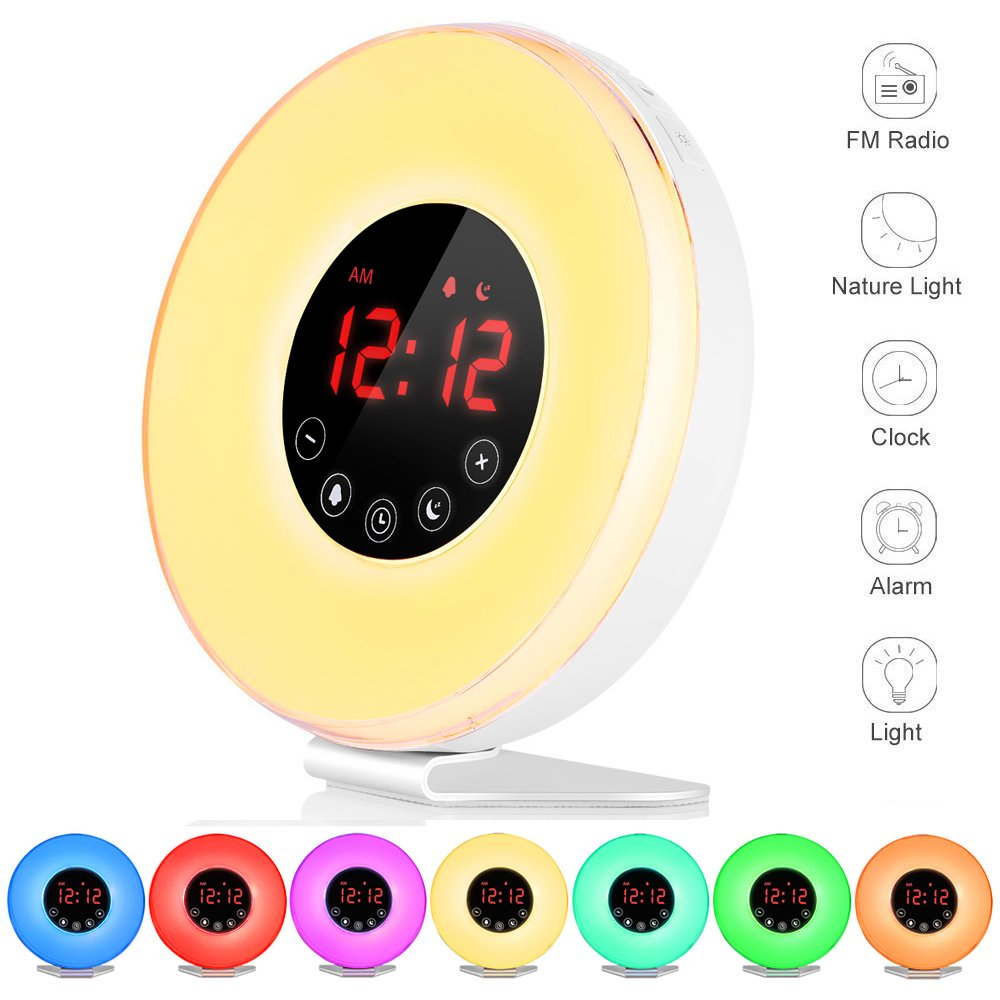 FKANT Wake Up Light, Nature Light Sunrise Simulation Alarm Clock, Snooze Function 7 Colors Atmosphere Lamp, 6 Natural Sounds and FM Radio for Kids Adults Bedrooms(6639) by FKANT