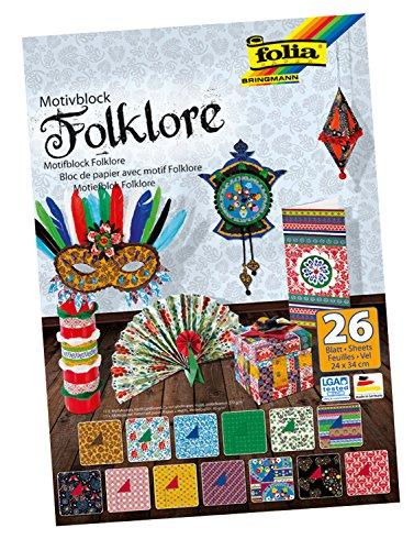 Folia 47049 - Motivblock Folklore, 24 x 34 cm, 26 Blatt sortiert