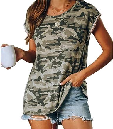 QIYUN.Z Camiseta de Verano para Mujer Camuflaje Camiseta ...