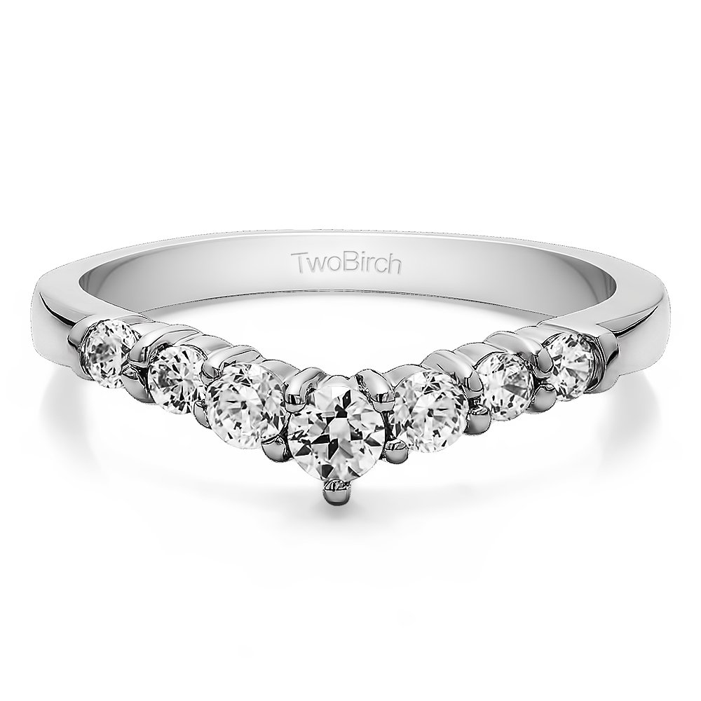 Charles Colvard Moissanite Chevron Wedding Ring In Silver(0.43Ct)Size 3 To 15 in 1/4 Size Interval