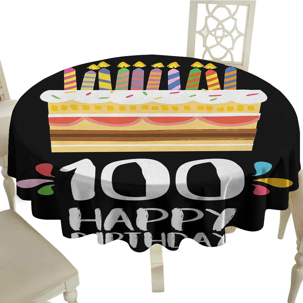 Curioly 100th Birthday Washable Tablecloth Old Legacy 100 Party Cake Candles On Black Major Milestone Backdrop Dinner Picnic Home Decor D433 Inch
