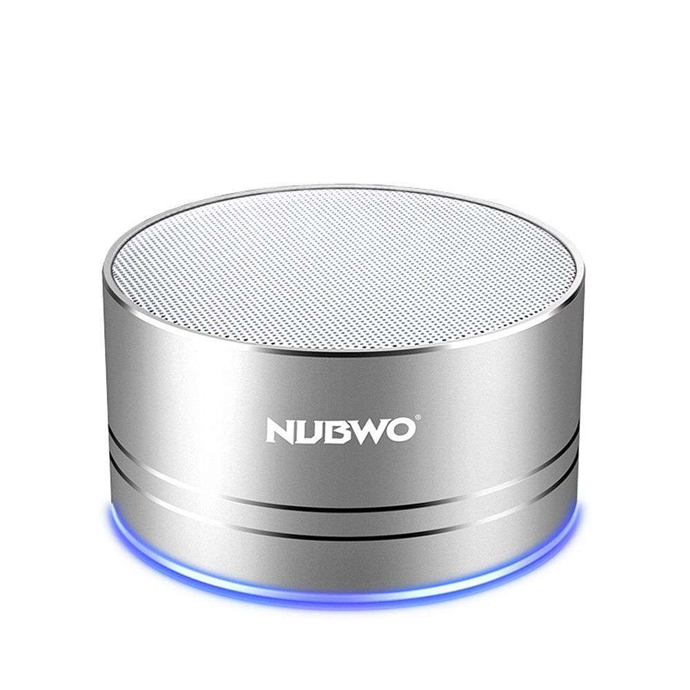 NUBWO Portable Bluetooth Speaker with Mic/Speakerphone,AUX Line,Memory Card Playback Smartphones for Apple/Android Phone (Silver)