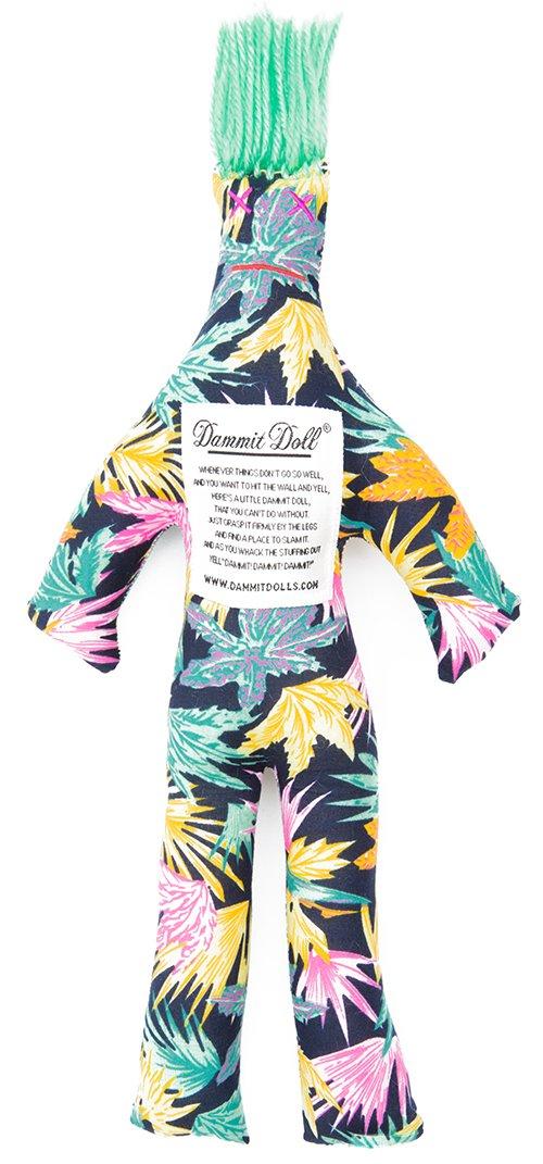 Dammit Doll - Classic Dammit Doll - Neon Xenon - Neon Palms on Black, Seafoam Green Hair - Stress Relief, Gag Gift
