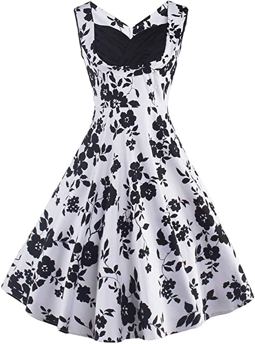 Pandaie-Womens Dresses Women Vintage Sleeveless O Neck Evening Printing Party Prom Swing Dress
