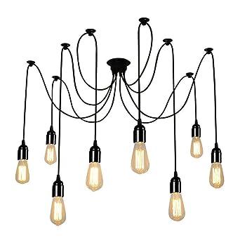 Plafond Luminaire Plafonniers Suspensions Lampe Lustre E27 Douille Araignées Eclairage 8 Pendentif Branches Jour Retro Abat Lampop Pour NXwOk8Pn0Z