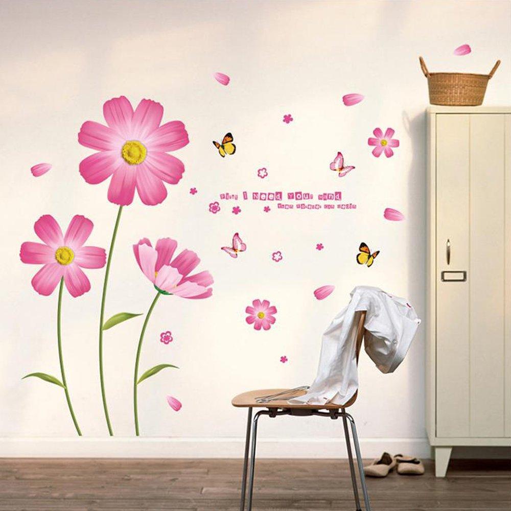 Chrysanthemums Butterflies Dragonflies Garden Wall Decal PVC Home Sticker House Vinyl Paper Decoration WallPaper Living Room Bedroom Kitchen Art Picture DIY Murals Girls Boys kids Nursery Baby Excellent shop