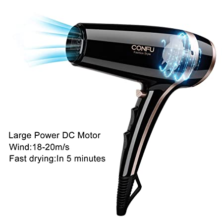 CONFU 1875W Fast Drying Hair Lightweight Low Noise Blow Dryer with 2 Speed 3 Heat Cool Setting Nozzle Diffuser Hairdryer Bag ETL Certified, Black