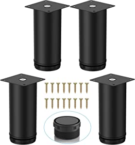 ZongSy (4-Pack) 4 Inch Stainless Steel Furniture Legs Cabinet Legs Upgraded & Thickened Kitchen Feet Worktop/Unit/Desk Table Legs Sofa Legs Kitchen Adjustable Feet with 16 Screws (4 Inch/100 mm)