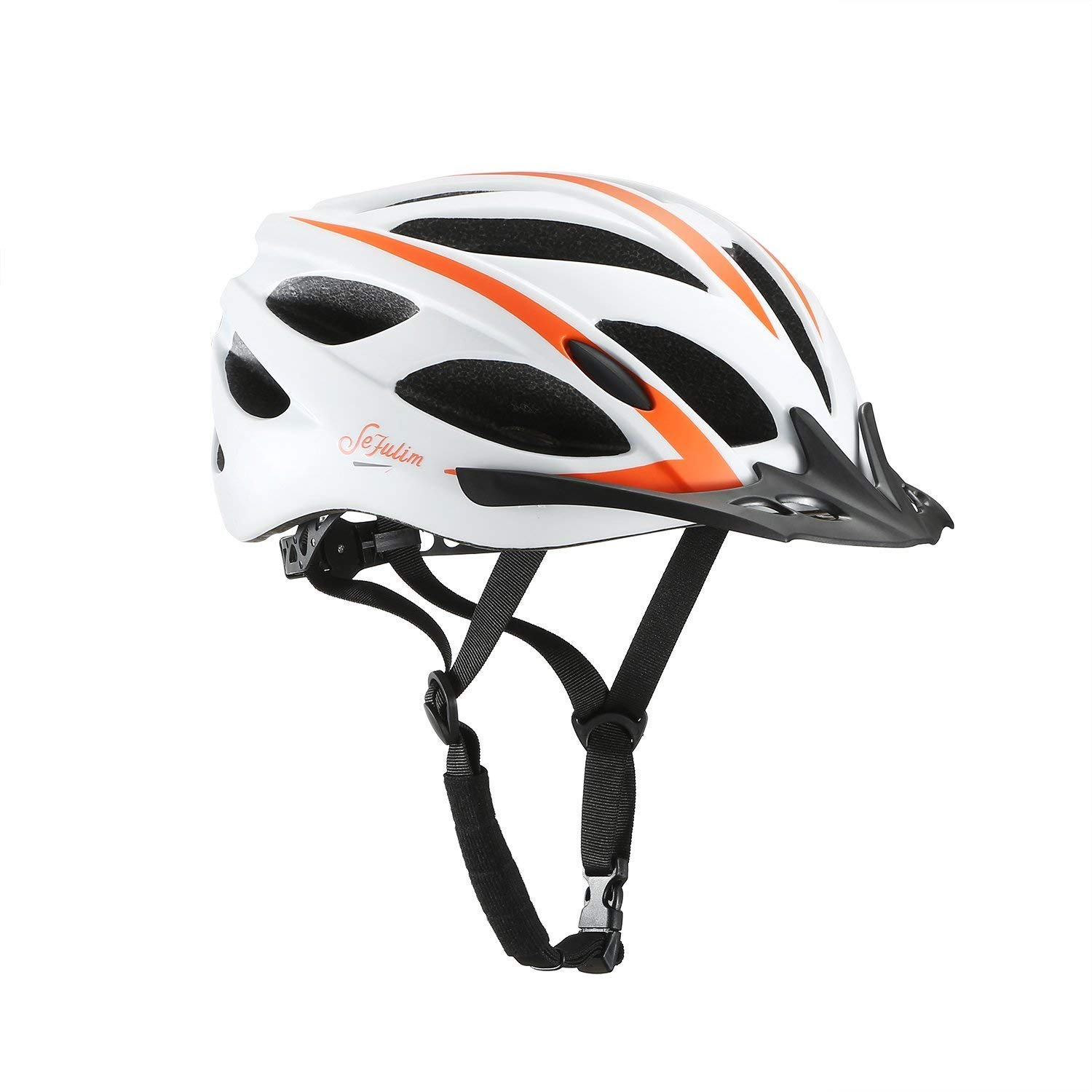 Sefulim Specialized Cycle Helmet Adult Racing Bike Cycling Helmets Adjustable Size for Girls Boys Spectacle-wearers White (Standard)