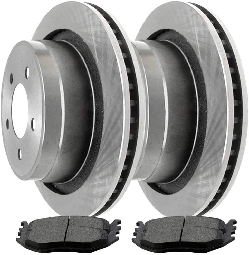 AutoShack RSMK63008-63008-967-2-4 Rear Brake Rotors and Semi Metallic Pads