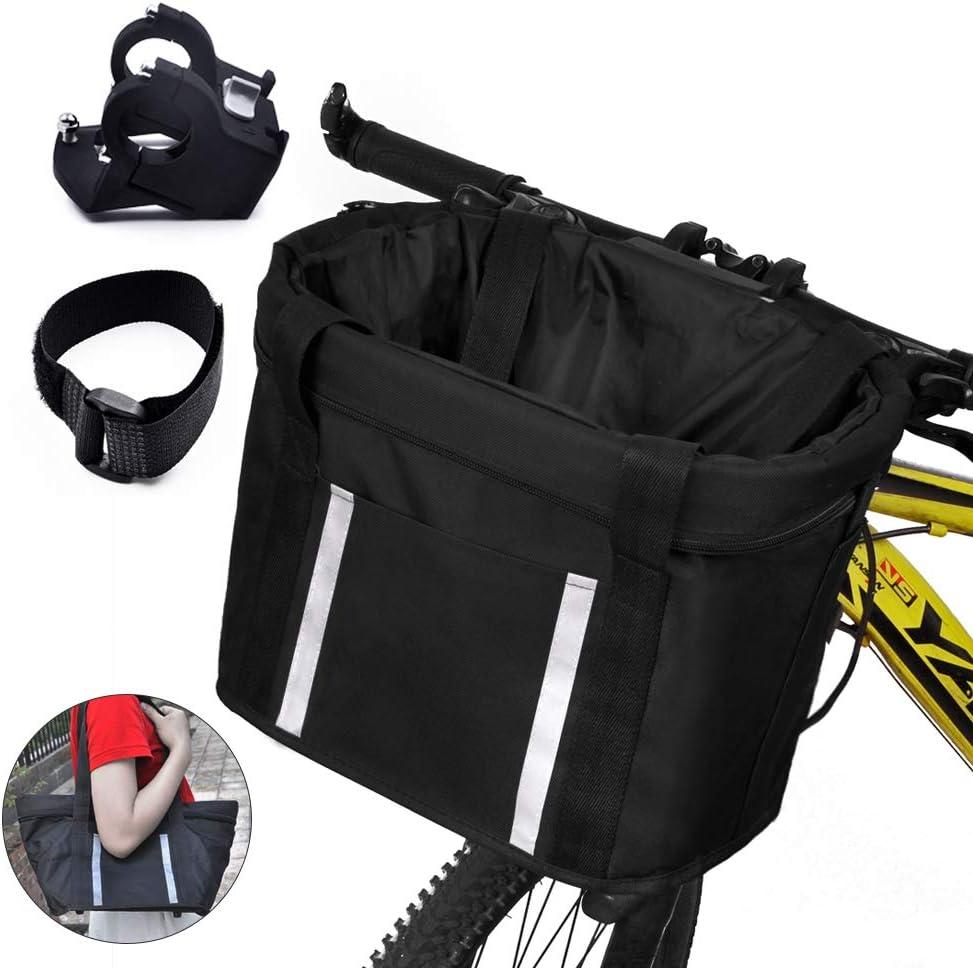 ANZOME Cesta plegable para bicicleta, manillar desmontable delantero Bicicleta para mascota Carrier Carrier Pet,diámetro de la manija: 22.7-32 mm (0.8in-1.2in), capacidad máxima de carga: 5 kg (11 lb)