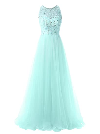 Callmelady Tulle Beading Prom Dresses Long Evening Dress For Women Formal (Aqua, UK4)