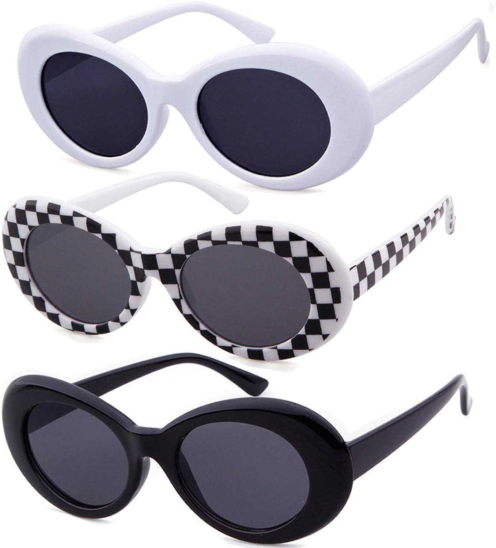 Amazon Com Vintage Clout Goggles Bold Oval Retro Kurt Cobain Women Sunglasses Clout Uv Lens Pack Of 3 Clothing