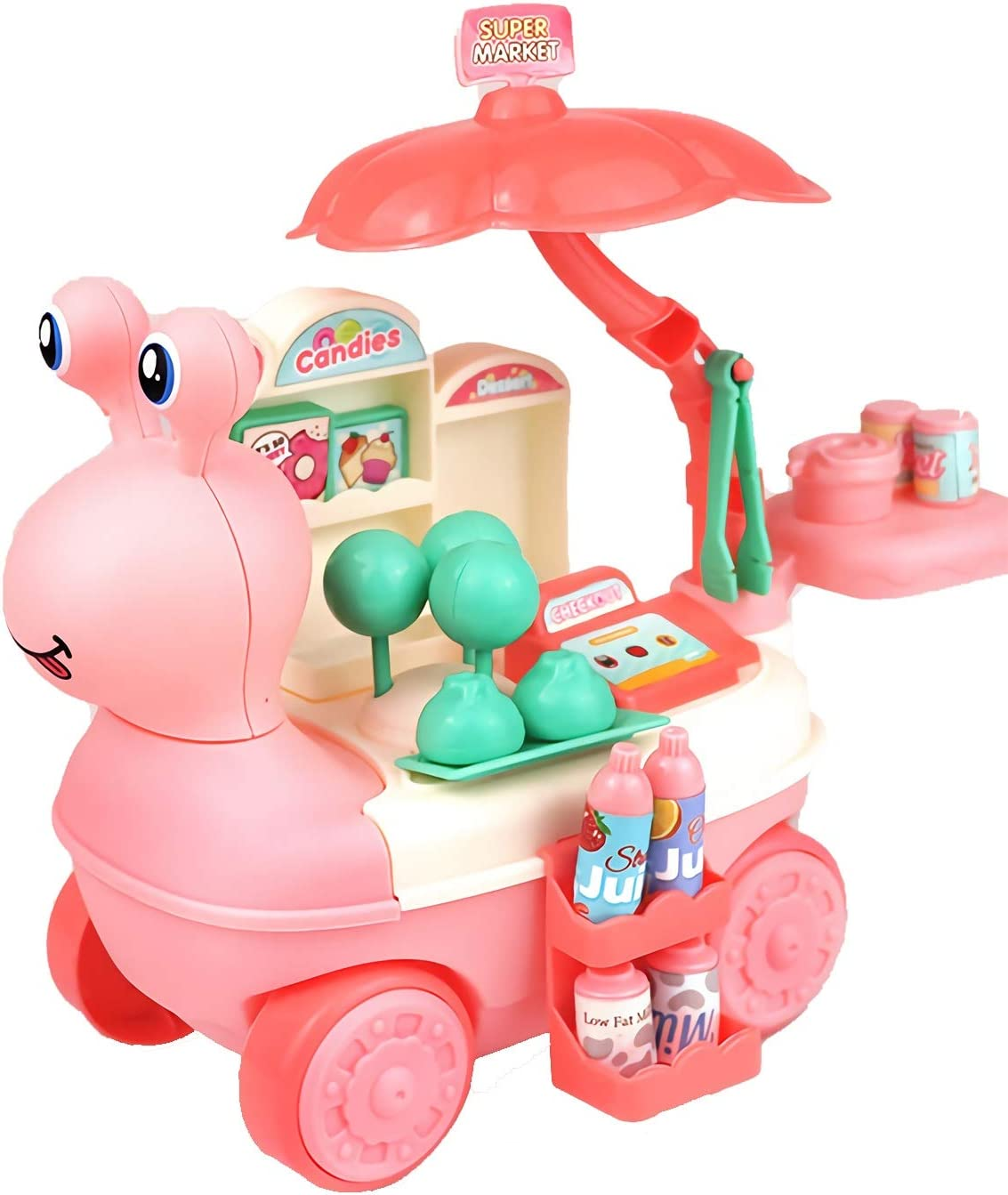 JX Mini Candy Cart, Supermarket Pretend Play Toy Learning Mini Cart Food Truck Great Gift for Girls and Boys Ages 2 - 8 Years Old (Pink)