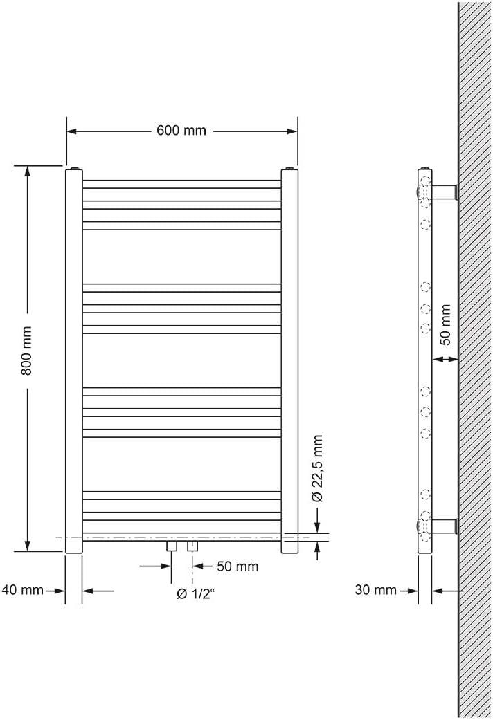 ECD Germany Badheizk/örper Heizk/örper Handtuchw/ärmer Handtuchtrockner 600 x 1800 mm Wei/ß gebogen mit Mittelanschluss