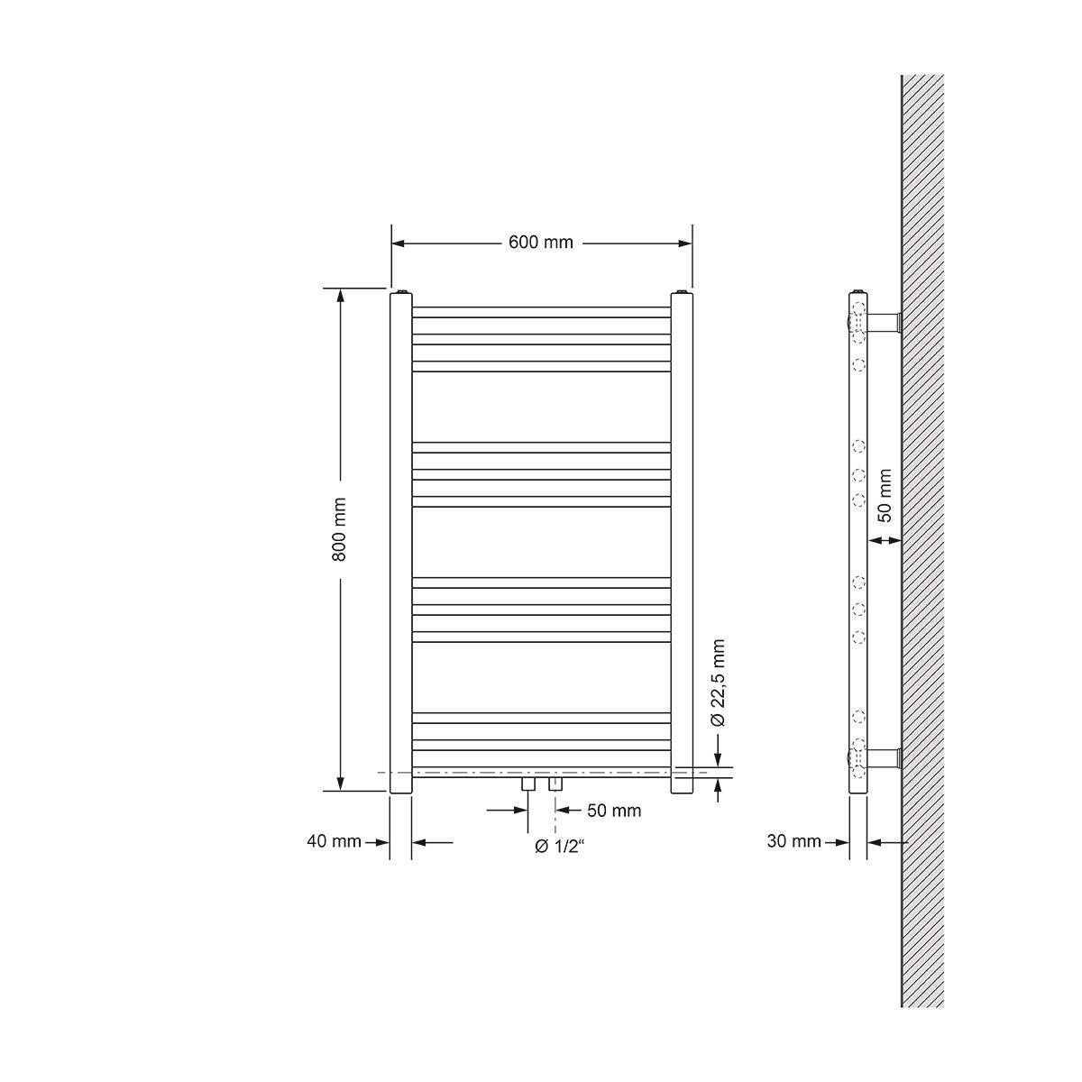 ECD Germany Badheizk/örper Sahara Anthrazit gebogen mit Mittelanschluss Heizk/örper Handtuchw/ärmer Handtuchtrockner 600 x 1500 mm