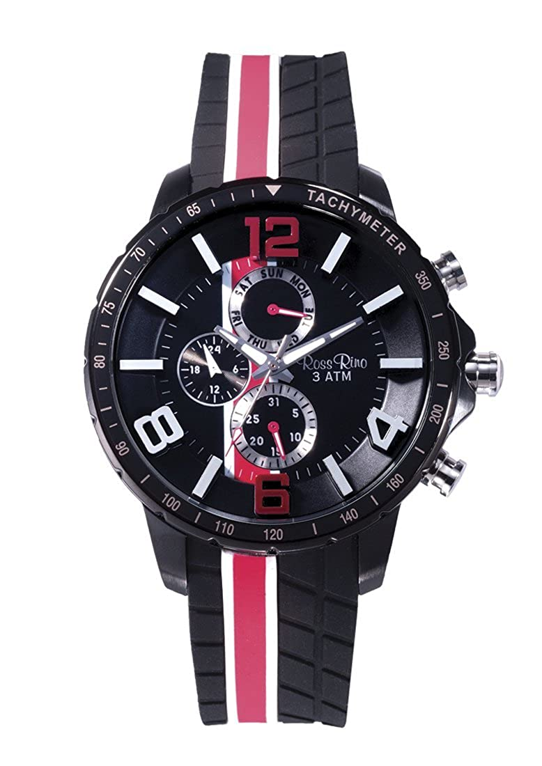 Ross Rino 20th Edition Sport–Reloj Unisex de Cuarzo con Negro Esfera analógica Pantalla y Negro Pulsera de Acero Inoxidable