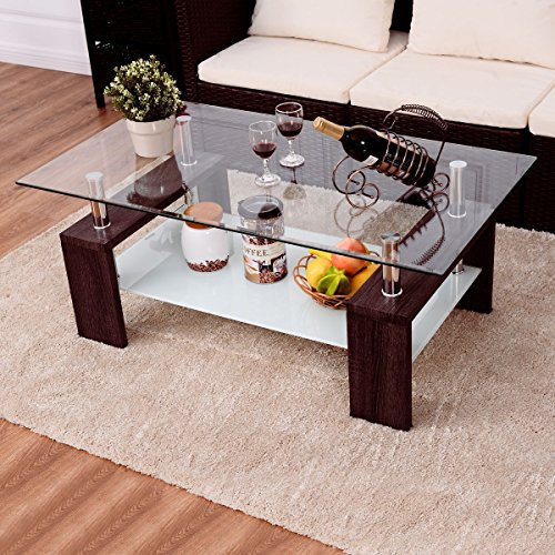 - Premium Modern Coffee Table With Clear Glass Top Solid Wood Legs With Storage Shelf Low For Any Home And Living Room. (Brown)