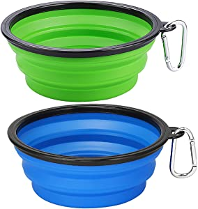 Kytely 2 Pack Extra Large Collapsible Dog Bowls, 34oz Foldable Dog Travel Bowls, Portable Dog Water Food Bowl with Carabiner, Pet Feeding Cup Dish for Traveling, Walking, Parking