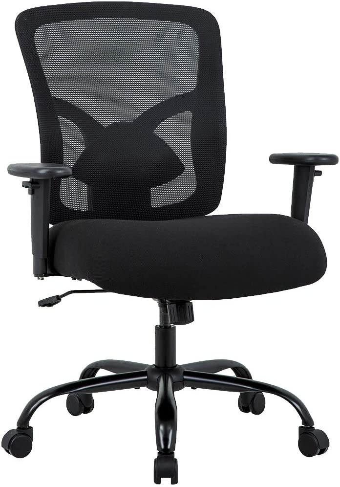 Amazon Com Big And Tall Office Chair 400lbs Desk Chair Mesh Computer Chair With Lumbar Support Wide Seat Adjust Arms Rolling Swivel High Back Task Executive Ergonomic Chair For Women Men Black Furniture