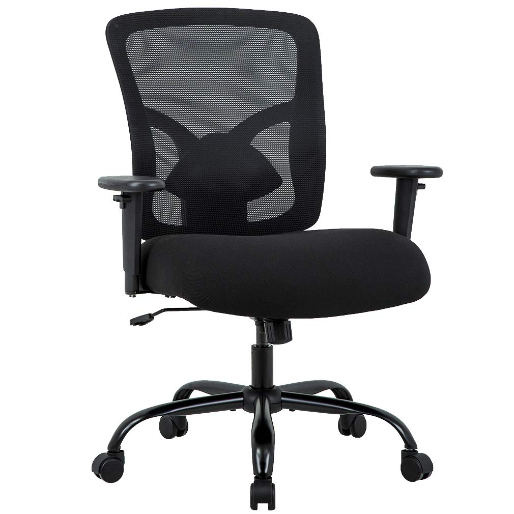 Big and Tall Office Chair 400lbs Cheap Desk Chair Mesh Computer Chair with Lumbar Support Wide Seat Adjust Arms Rolling Swivel High Back Task Executive Ergonomic Chair for Women Men,Black by BestMassage
