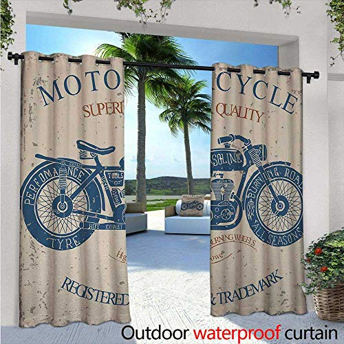 Vintage Balcony Curtains W96 x L96 Retro Style Bike Grunge Background Classic Wheels Chopper Rider Illustration Outdoor Patio Curtains Waterproof with Grommets Slate Blue ()