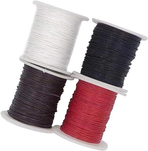 4 rollos de cordón de algodón encerado de 1 mm, cordón encerado ...