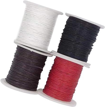 4 rollos de cordón de algodón encerado de 1 mm, cordón encerado, cuerda encerada, cordón de cera para joyería y suministros de macramé, 87 yardas por rollo de carrete, 4 colores: Amazon.es: Hogar