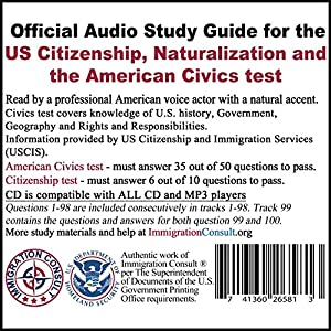 Civics test audio study guide for the U.S. Citizenship naturalization and the American civics exam with all 100 official questions and answers from USCIS.