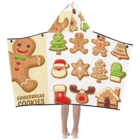 Galletas de pan de jengibre Galleta dulce Suave algodón cálido Mezclado Los niños se visten con capucha Manta portátil Toallas ...