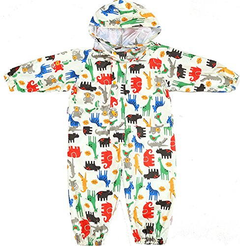Guozyun Unisex Baby and Kids Rainsuit, Rain Coverall, Outdoors Rain Suit (1-12 Years) Breathable Rainsuits